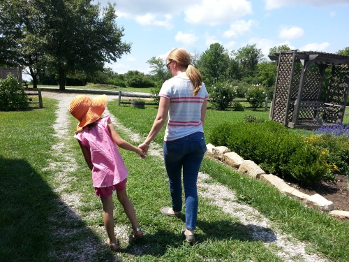 my daughter walking with her aunt