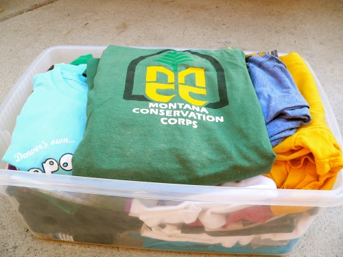 bin of t-shirts
