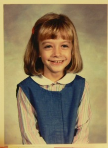 1st grade photo of me wearing a dress my mother made